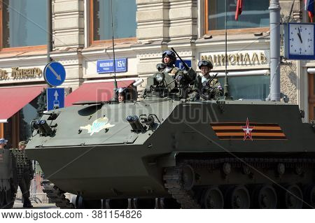 Moscow, Russia - June 20, 2020:paratroopers On An Armored Personnel Carrier Multi-purpose Landing Bt
