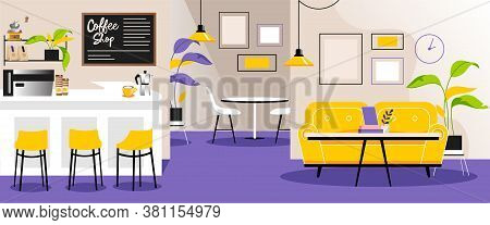 Vector Illustration In Flat Cartoon Style Of Empty Cafe Interior. Coffee Shop Colorful Indoor Design