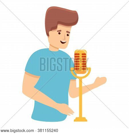 Radio On Air Singing Icon. Cartoon Of Radio On Air Singing Vector Icon For Web Design Isolated On Wh