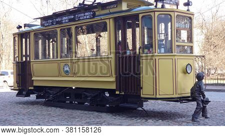Russia, Vyborg 04.05.2020 Monument Tram - A Recreated Tram Car, Installed As A Monument In The Cente
