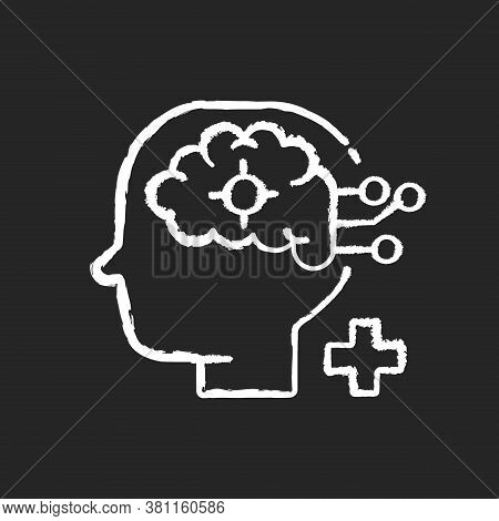 Neurological Department Chalk White Icon On Black Background. Neurological Science And Surgery. Brai