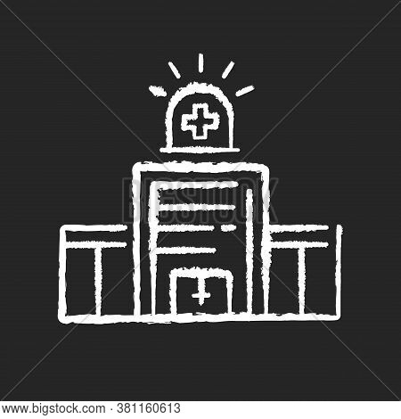 Walk In Clinic Chalk White Icon On Black Background. Medical Facility. Urgent Care Center. Healthcar
