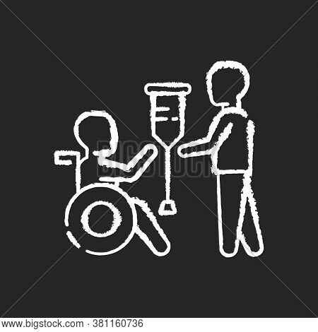 Rehabilitation Services Chalk White Icon On Black Background. Physical Therapy. Medical Care. Rehabi