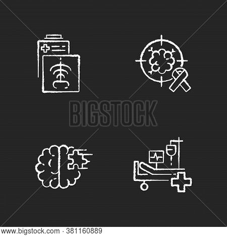 Health Care Services Chalk White Icons Set On Black Background. Ct Scan. Intensive Care Unit. Cancer