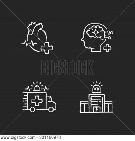 Urgent Health Care Chalk White Icons Set On Black Background. Cardiology Consultant. Ambulance. Neur