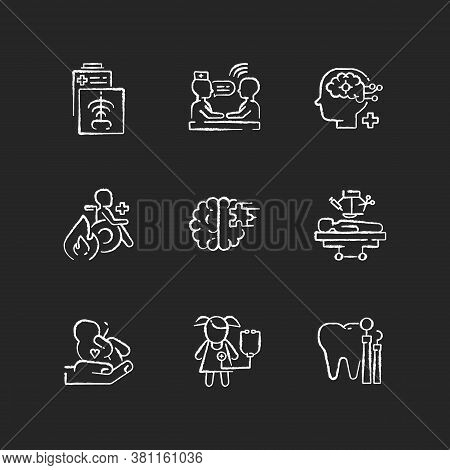Healthcare Services Chalk White Icons Set On Black Background. Maternity And Psychiatric Ward. Burn
