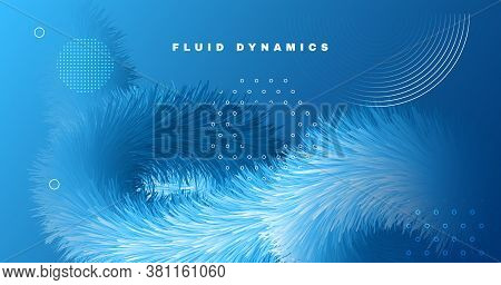 3d Wave Shapes. Fluid Poster. Blue Dynamic Pattern. Color Creative Flyer. Vibrant Motion. 3d Wave Sh