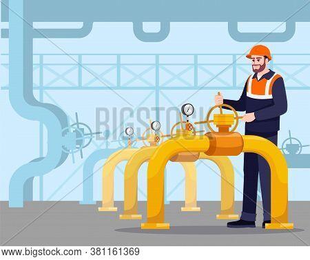 Pipeline Maintenance Semi Flat Vector Illustration. Gasman Working. Fuel Production. Petroleum Trans