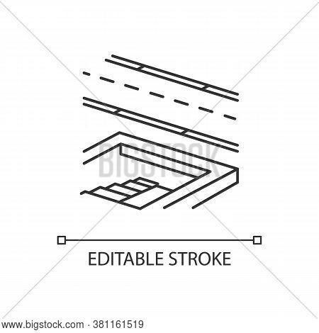 Underground Pedestrian Walkway Linear Icon. Safe Pedestrian Crosswalk. Underground Tunnels. Thin Lin