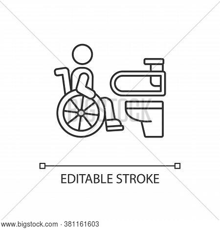 Accessible Toilet Linear Icon. Disabled People Conveniences. Wheelchair Accessible Public Toilet. Th