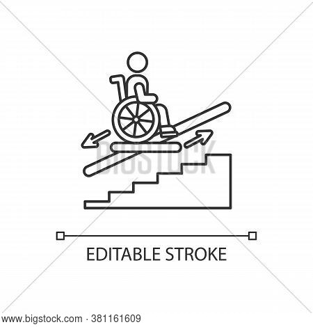 Stair Lift Linear Icon. Wheelchair Platform And Stairlifts For Disabled User. Outdoor Stair Lift. Th