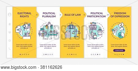 Political Rights Onboarding Vector Template. Political Pluralism. Rule Of Law. Freedom Of Expression