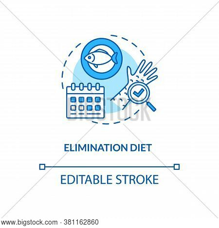 Elimination Diet Concept Icon. Biohacking, Nutrition Management Idea Thin Line Illustration. Monitor