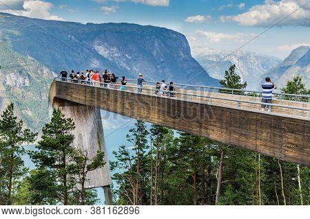 Aurland, Sogn Og Fordjane, Norway, Scandinavia - July 27, 2019: Stegastein Along The National Scenic