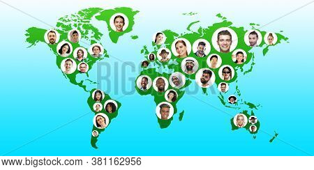 World Global Cartography - Earth International Concept, Connecting People All Around The World. Avat