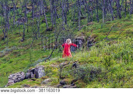 Flam, Sogn Og Fordjane, Norway- July 27, 2019: Huldra Dances At Kjosfossen Waterfall Along Flamsbana