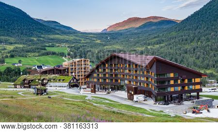 Myrkdalen, Hordaland, Norway, Scandinavia - July 28, 2019: Myrkdalen Mountain Resort With Access To