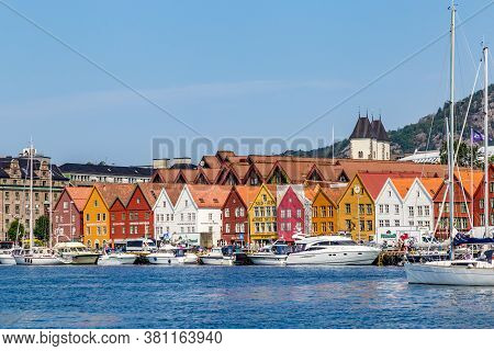 Bergen, Norway, Scandinavia - July 30, 2019: Port Of Bergen With View On The Historical Buildings Of