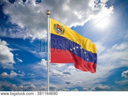 Realistic Flag. 3d Illustration. Colored Waving Flag Of Venezuela On Sunny Blue Sky Background.