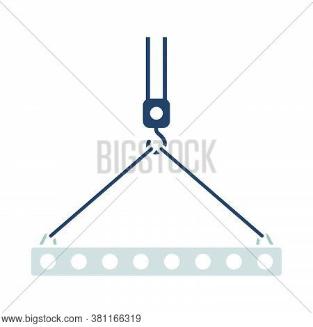 Icon Of Slab Hanged On Crane Hook By Rope Slings. Outline With Color Fill Design. Vector Illustratio