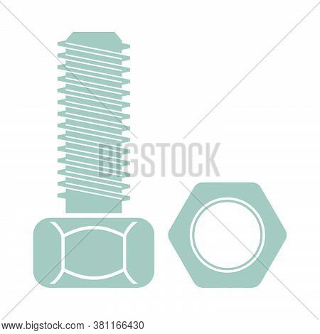 Icon Of Bolt And Nut. Outline With Color Fill Design. Vector Illustration.