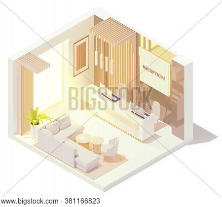 Vector Isometric Office Or Hotel Lobby Front Desk Or Reception Desk Interior. Reception Counter With