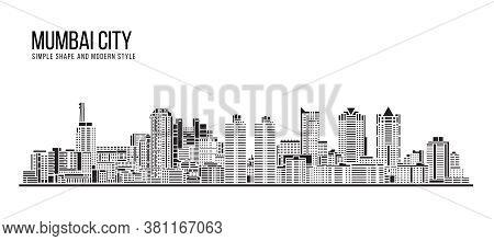 Cityscape Building Abstract Simple Shape And Modern Style Art Vector Design - Mumbai City (worli)