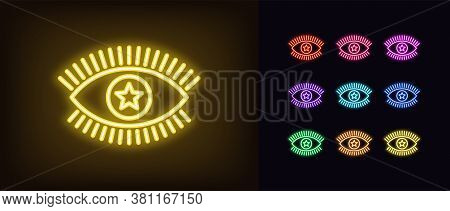 Neon Magic Eye Icon. Glowing Neon Eye Sign With Star Iris, Spiritual Vision In Vivid Colors. Mystic