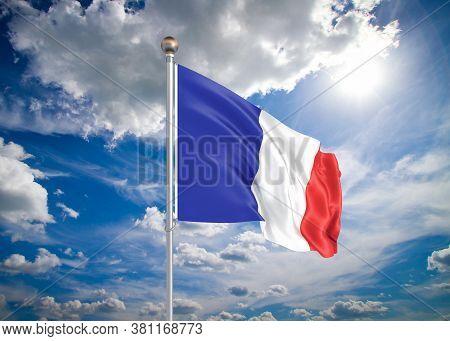 Realistic Flag. 3d Illustration. Colored Waving Flag Of France On Sunny Blue Sky Background.