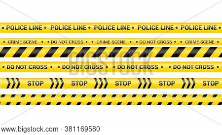 Police Tape, Crime Danger Line. Caution Police Lines Isolated. Warning Crime Scene Tapes. Set Of Yel
