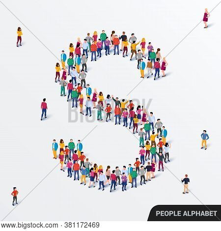 Large Group Of People In Letter S Form. Human Alphabet.