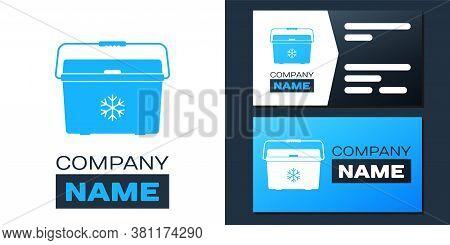 Logotype Cooler Bag Icon Isolated On White Background. Portable Freezer Bag. Handheld Refrigerator.