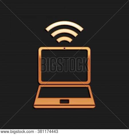 Gold Laptop And Free Wi-fi Wireless Connection Icon Isolated On Black Background. Wireless Technolog