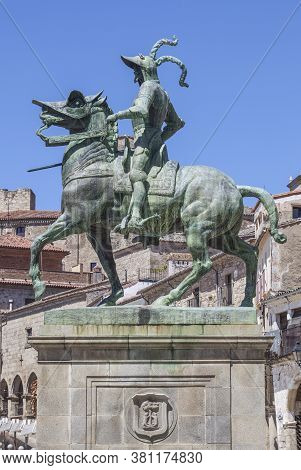 Trujillo, Spain - June 26th, 2020: Equestrian Statue Of Francisco Pizarro At Plaza Mayor Of Trujillo