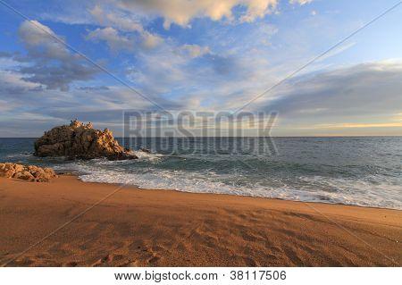 Sant Pol De Mar Beach In Maresme, Barcelona, Spain
