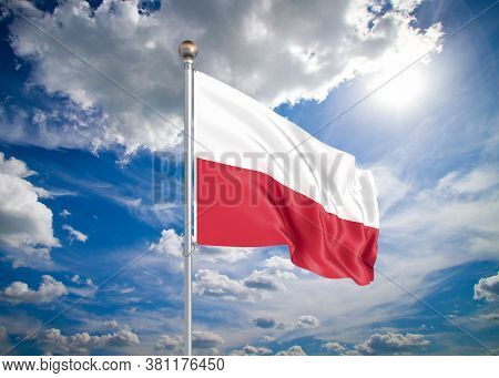 Realistic Flag. 3d Illustration. Colored Waving Flag Of Poland On Sunny Blue Sky Background.