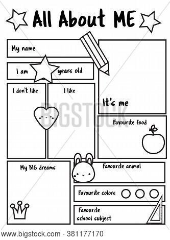 All About Me Printable Sheet. Writing Prompt For Kids Blank. Educational Children Page.