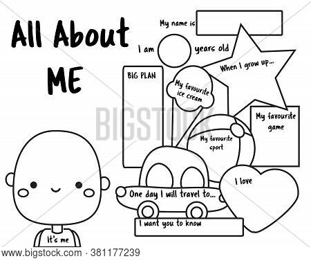 All About Me. Writing Prompt For Kids. Educational Children Page. Back To School Activity