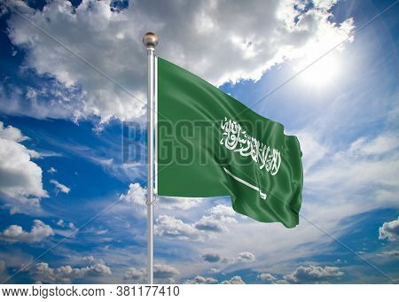 Realistic Flag. 3d Illustration. Colored Waving Flag Of Saudi Arabia On Sunny Blue Sky Background.