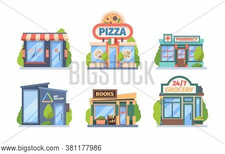 Shops And Stores Set. Commercial Color Retail Markets Food Drug Sales City Boutiques With Window Dis