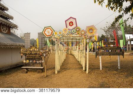 Tungs Lanna Flags Mobile Hanging On Torii Or Bamboo Pole Cave For People Visit At Wat Su Tong Pae Br