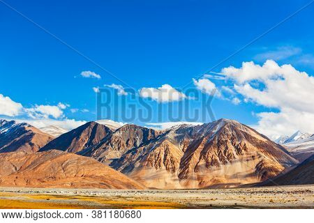 Mountains Near Tso Pangong Lake In Himalayas, Extends From Ladakh In India To Tibet In China