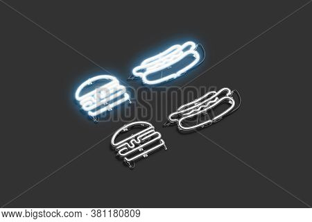 Decorative Burger And Hot Dog Neon Symbol Mockup, 3d Rendering. Fast Food Eatery Or Cafe Led Signage