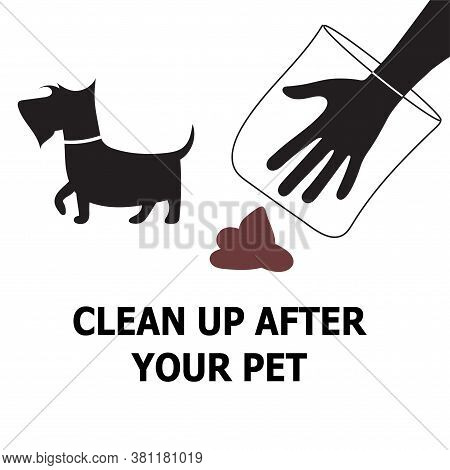 Funny Dog Pooping Vector Pictogram, Symbol. Clean Up Your Pets Poo