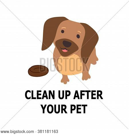 Dog Poo Information Vector Icon, Pictogram. Clean Up After Your Pet