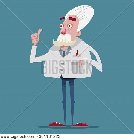 Funny Scientist Chemist In A Laboratory Suit. Vector Cartoon Character Of An Old Professor.