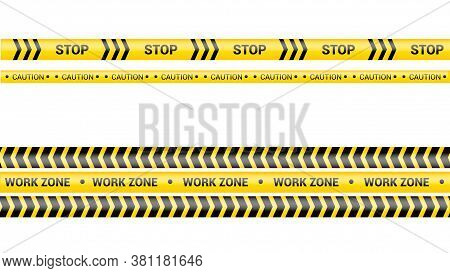Police Tape, Crime Danger Line. Caution Police Lines Isolated. Warning Work Zone Tapes. Set Of Yello