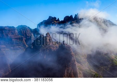 Pico Do Arieiro To Pico Ruivo Trek Mysty Landscape In Madeira Island, Portugal