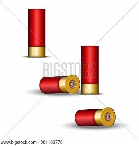 Shotgun Cartridge For Hunting And Skeet Shooting, Shotgun Shells Red Case With Capsule, Realistic 3d