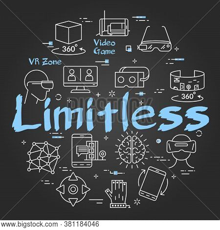 Vector Virtual Reality Black Concept With Limitless Text